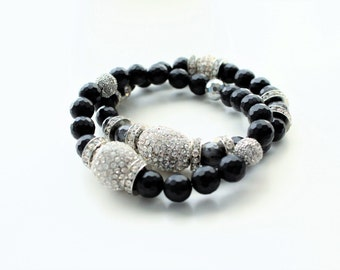 Black Faceted Onyx Gemstone Silver Cubic Zirconia Beaded Bracelets