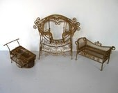 Lot of 3 Vintage Doll House Garden furniture, Original box, Gold wire miniatures, Girl's Room, Shabby Cottage Chic, gift idea