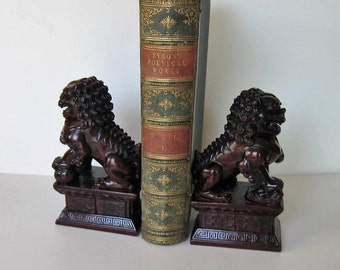 """SALE, Pair of vintage Asian Foo Dogs, Chinese statues, Chinese Home decor, Asian figurines, Chinoiserie, bookends, 6 3/4"""" tall, gift idea,"""