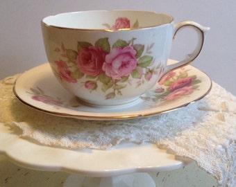 Vintage Oversize Rose Teacup and Saucer