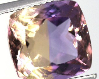 natural ametrine 7.55 carat cushion purple gold Gemstone Bolivia