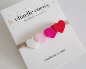 Baby Heart Headband, Valentine's Day Felt Heart Headband, Ombre Heart Headband by Charlie Coco's