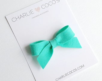 "SALE Baby / Girls Felt Bow Headband OR Hair Clip ""Aquamarine"" -Premium Wool Felt Bow by charlie coco's"