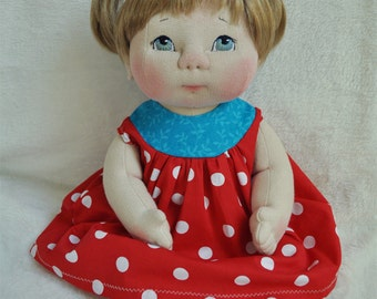 "SALE! Fretta's Textile Baby Doll. 40.5 cm / 16"" Soft Sculpture Baby Girl. Blue Eyes, Blonde Hair.Child Friendly Cloth Doll."
