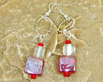 Red Glass Earrings, Glass Bead Earrings, Wirewrapped, Cube Earrings, Frosted Glass, Tile Earrings, Glass Tiles, Red and White