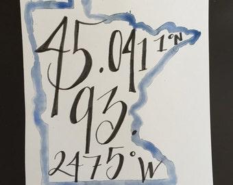 Minnesota longitude latitude Art