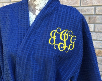 Monogrammed Robes - Waffle Weave Robe - Microfiber Waffle Weave Terry Kimono Robes - Kimono Robe - Bridal Party Robes - BridRobes - White Ro
