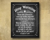 Ring Warming Printed Wedding sign -  chalkboard signage -  rustic heart collection choose your side with optional add ons