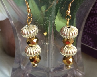 Chinese Gold Crystal beads and silver balls Earrings