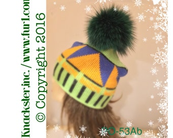 PO-53A Genuine Emerald Green Coyote real Fur DETACHABLE POMPOM brooch decoration for a hat