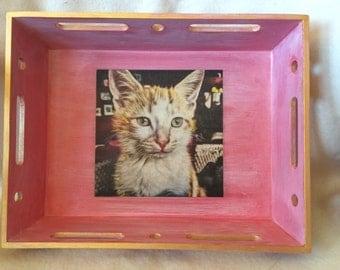 Tray, wood tray , cat design vintage wood tray .