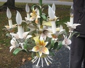 Metal Flower Chandelier, French Styling, Vintage, Pastel Tones, Six Candles, Great Condition 1980's or earlier