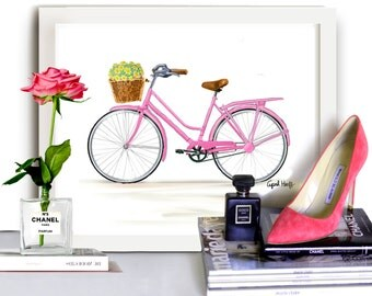 Pretty in Pink Bicycle Print | Watercolor Drawing, Wall Art, Flower Painting, Bike Illustration, Handmade, Girl Present