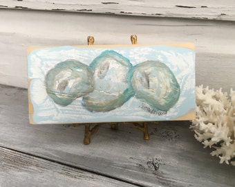 Oyster Art Painting/Coastal Wood Art/Oyster Home Decor/Seashell Beach Art