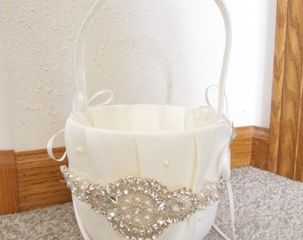 Beautiful Ivory Flower Girl Basket - Ivory Rhinestone Flower Girl Basket