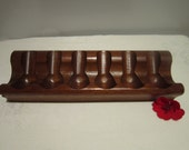 Vintage Walnut 6 Pipe Stand by Decatur Industries