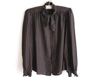1980s  stripes tie neck Blouse small