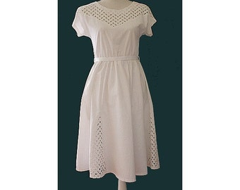 1980s Open Lace white cotton Dress  small made in france