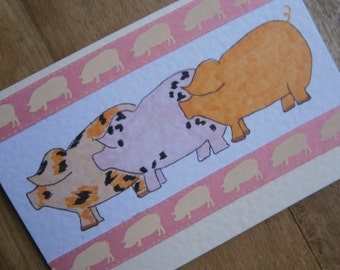 3 little pigs. Pig card for any occasion