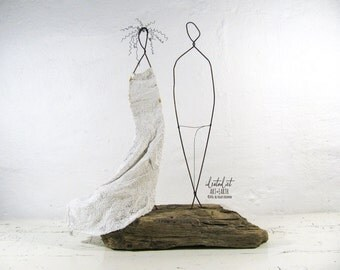 Wedding Couple Driftwood and Wire Sculpture Mixed Media Art
