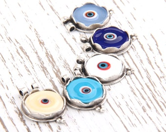 Creme, Round Turkish Evil Eye Glass Pendant with double loop, Antique Silver Plated, 21mm, 1 pc // SP-244