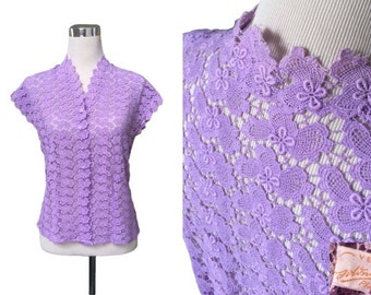 East German VEB - 1940s 1950s - Lace Vintage Blouse - Rare Glass Button Down Blouse