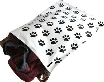 "50 Happy Paws Print 10"" x 13"" Flat Poly Mailers, Animal Lovers Self Sealing Flat Envelope Mailers, Colored Shipping Pet Print Mailer Bags"