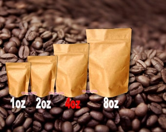 4 Size sample pack  Kraft Stand Up Pouch Bags Food Safe Resealable Bags Food PackagingTea Paper Bags,Coffee Favor BagsFoil Product Packaging