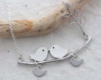 Lovebirds Necklace. Anniversary Gift. love birds necklace. Bird Necklace . choose sterling silver or Rhodium. Mothers necklace.  By MonyArt