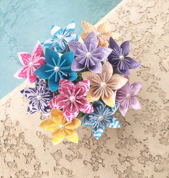 Origami Paper Flower Bouquet Wedding Decorations Kusudama