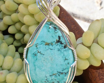 Turquoise Pendant, Turquoise Stone Pendant, Argentium Sterling Silver Wire Wrapped, Handmade Stone Jewelry Necklace, Free Shipping USA