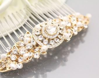 Gold Wedding hair accessories Gold Bridal hair comb Gold Wedding hair comb Gold Bridal hair accessory Wedding hair piece Bridal headpiece