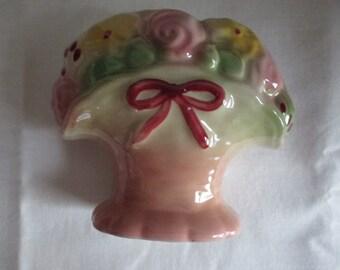 Vintage Ceramic Flower Basket Wall Vase