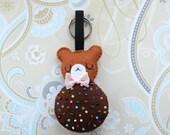 Cute teddy bear cookie keychain bag decor
