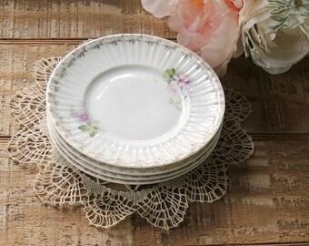 Vintage CT Germany Porcelain Small Plates Set of 4, Cottage Style Table Decor, Princess Tea Party Shabby Chic Petit Four Plates