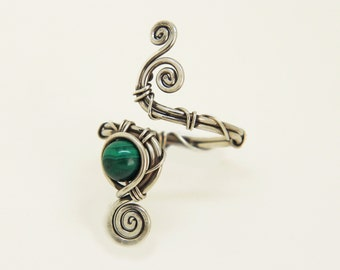 """Malachite Sterling SIlver Ring """"Paris"""" Hand made solid  silver adjustable ring"""