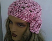CAMPAIGN*Pink Crochet Beanie Hat, Fashion Accessories-Crochet Slouchy Beanie Hat - Womens Crochet Slouch Hat - Winter Accessories