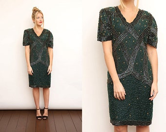 Vintage 80s Green Gold Embellished Beaded Party Dress. Medium.