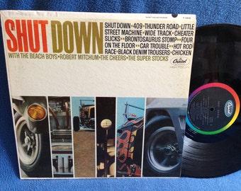 "Vintage, ""Shut Down"" Vinyl LP Record Album, Hot Rod, Original 1963 First Press, The Beach Boys, Robert Mitchum, The Cheers, The Super Stocks"