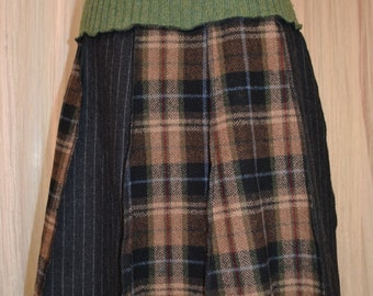 Upcycled School girl skirt....Plaid wool....grey and tan....