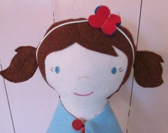 """Handmade Cloth Doll. plush doll, 16"""" tall, Blue-eyed School Girl Doll, Rag Doll"""