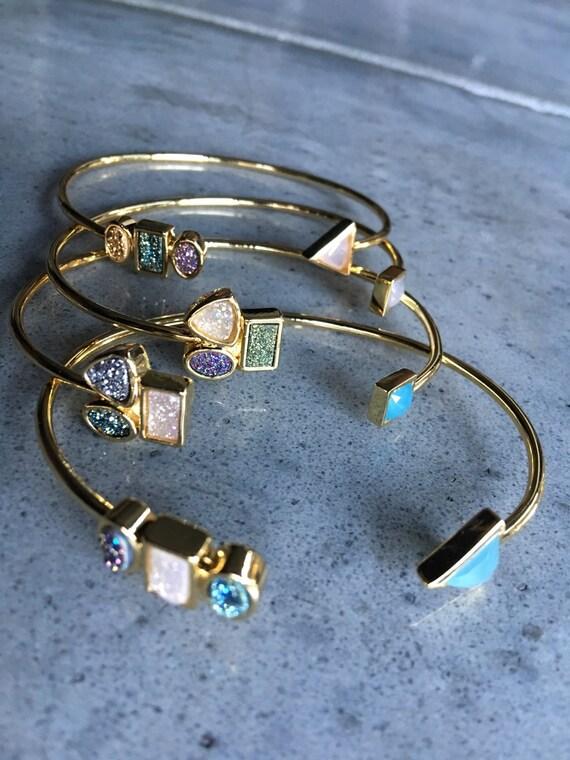Druzy bracelets, boho jewelry