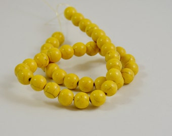 One Full Strand---Round yellow Turquoise Ball Beads----10mm ----about 40Pieces----15.5inch strand