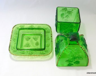 Indiana Glass, Green Grapes Cheese/Butter Dish and Vase/Bowl