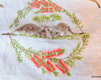 Australian Kangaroos Handkerchief, Australian Souvenir, Textiles