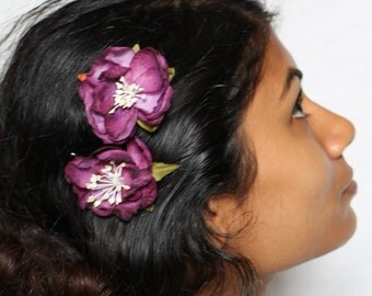 Purple rose hair clips bobby pins hair accessory floral flower hair pins bridal wedding