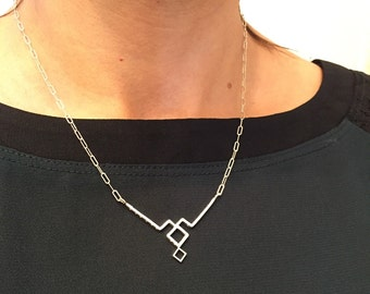 Art deco inspired geometric necklace