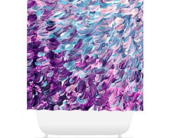 FROSTED FEATHERS, Purple Turquoise Colorful Ocean Waves Shower Curtain Abstract Splash Ombre Pattern Art Washable Decor Modern Chic Bathroom