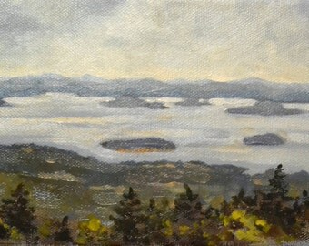 "coast of Maine, 5"" x 7"" original oil painting landscape"