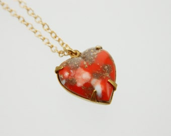 Coral Matrix Heart Necklace